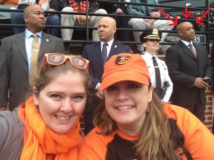 My friend Stephanie and I sitting in front of the Commissioner at Opening Day